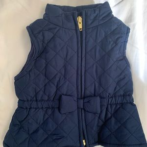 Old navy quilted navy vest with bow